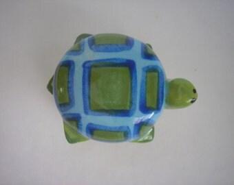 Turtle Knob, Drawer Pull, Handle, Ceramic, Greens and Blues