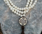 White Coral and Goldstone Mala Prayer Beads Rosary - white and brown