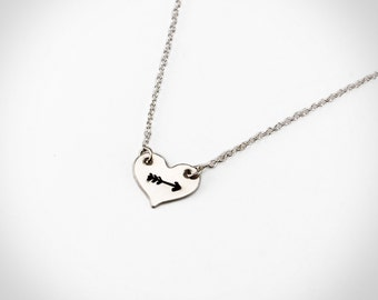 Arrow Heart Necklace in Sterling Silver