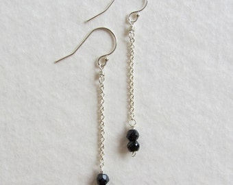 Black Spinel Gemstone Earrings - Handmade Wire Wrapped Jewelry - Black Faceted Stones