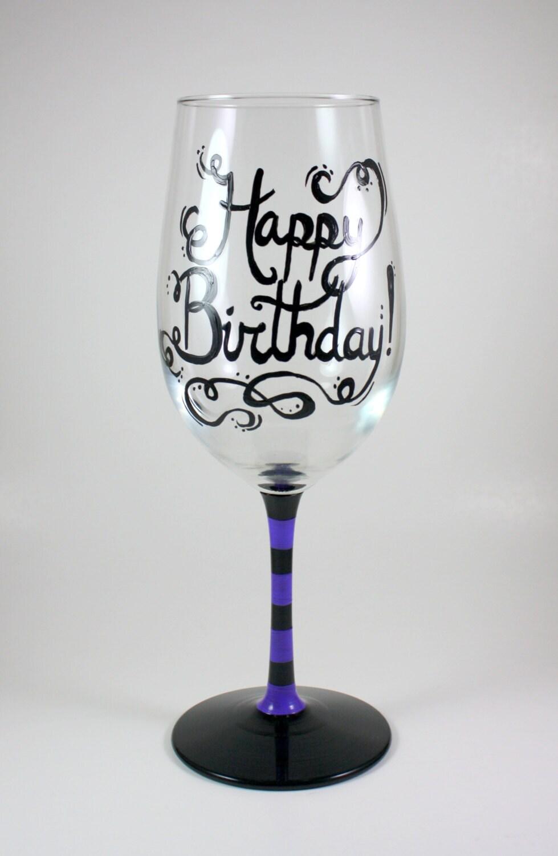 Happy Birthday Cake With Wine Glass