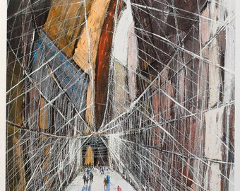 On the Brooklyn Bridge - New York City Art, Cityscape, Print