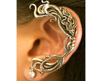 Mermaid Ear Wrap Bronze - Mermaid Ear Cuff - Siren - Mermaid Jewelry - Mermaid Earring Elf Ear Cuff Bronze Ear Cuff Ear Wrap Bronze Ear Wrap