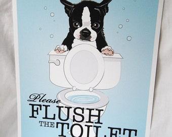 Flush Toilet Boston Terrier - 8x10 Eco-friendly Print