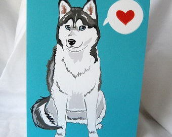 Husky Heart Greeting Card - Gray