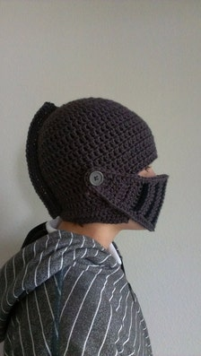 Free Us Shipping Knight Helmet Hat Crocheted Charcoal