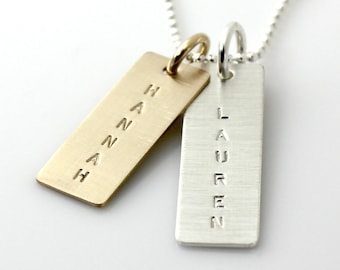 Name Necklace - Personalized Mixed Metal Name Tag Necklace - Varied Length, Sterling Silver Long