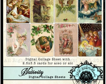 Nativity Digital Collage Sheet, Angel and Christ ACEO or ATC Tags, Christmas GIft Tags, CHristmas Hang Tags,