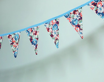 SALE! Pennant Banner Flag Garland Bunting Wall Decor made from Vintage Floral Fabric in Blue, Green, Orange, Cream and Maroon