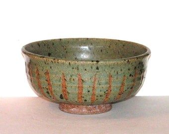 Vintage Rustic Pottery Bowl - Handmade Pottery Bowl - Signed Studio Art - Green Brown Earthenware