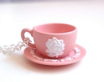Teacup necklace -  Miniature Tea Cup - Pink Rose Motif Teacup