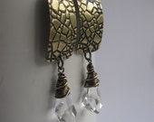 Brass Mosaic and Faceted Irregular Swarovski Crystal Earrings