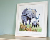 Two Elephants Illustration Print