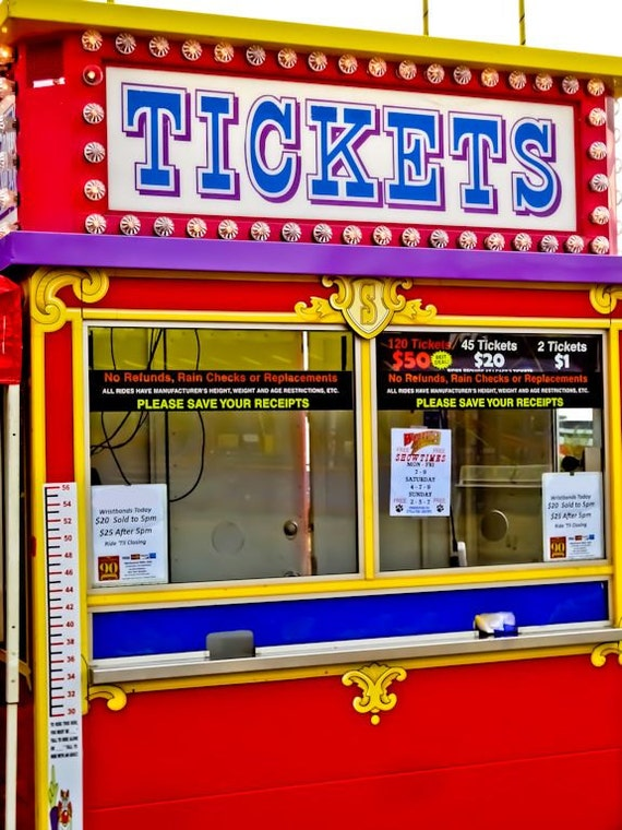 Carnival Fair Ticket Booth Neon Sign Fine Art Print- Carnival Art, County Fair, Nursery Decor, Home Decor, Children, Baby, Kids