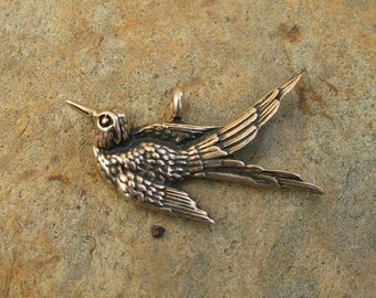 Bronze Swallow Bird Pendant