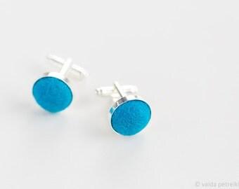 Blue cuff links, Handmade felt minimalist unusual cufflinks, Unisex gift, Groom's accessory, Wedding set, Wool silver anniversary gift