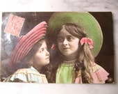 SALE !!! Antique France Photo Postcard. Sweet litlle Girls with big hats. 1905