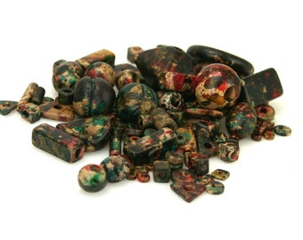 Mykonos Greek Ceramic Beads Autumn Rust Mixed Bag