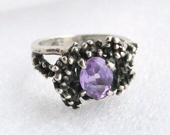 Vintage Silver Amethyst Ring Sterling Silver Purple Amethyst Gemstone Ring Antiqued Romantic 925 Brutalist Ring