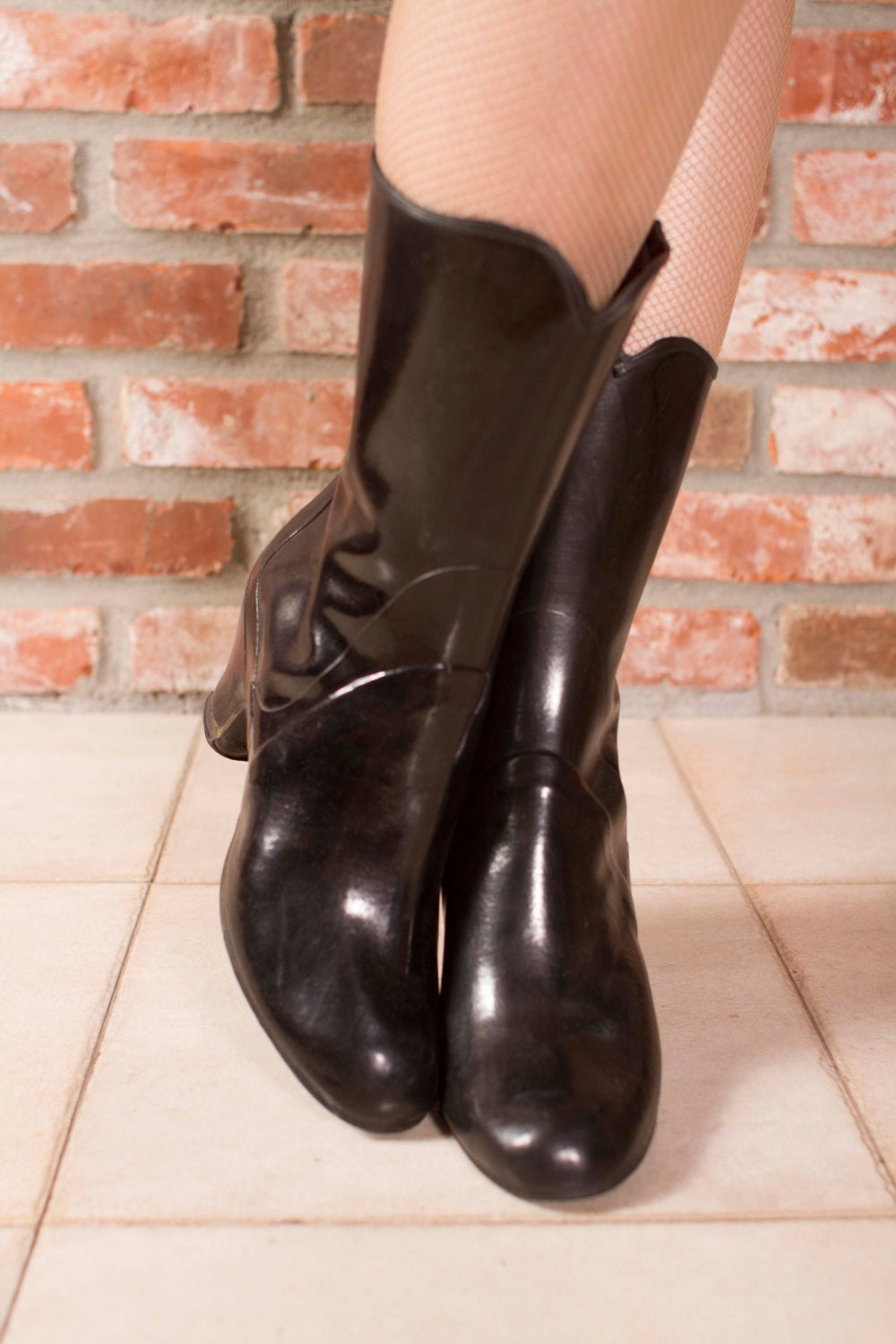 vintage 1940s boots shiny black rubber shoe cover galoshes