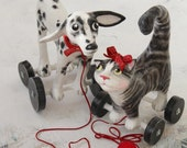 Black and white toy cat, grey, white and black cat pull toy, margay or tiger cat, Paper maché Art toy scuplture, traditional toy