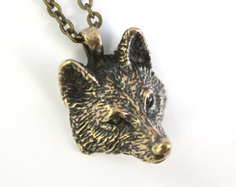 Realistic Wolf Head Necklace in Solid Bronze 368