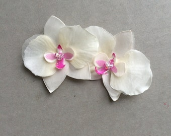 Set of two handpainted silk orchids - ivory or white