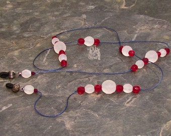 """Red White & Blue Eyeglass Chain Lanyard, Glasses Leash, Red and White Czech Crystals 32"""" - G09"""