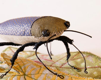 Soft Sculpture Fiber Art Insect Jewel Beetle with Leaves Natural History Gift Nature Lover Gift Entomology Gift Luxury Woodland Gift