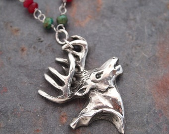 Gemstone and WhiteTale Deer Necklace
