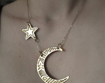 Moon and Star Necklace - Brass Necklace - Etched - handmade in my studio in Austin Texas - Hand Drawn Etched and Cut - Occult Moon Jewelry