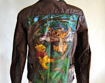 Vintage Hand Painted Leather Jacket with Winnie the Pooh and Tigger!