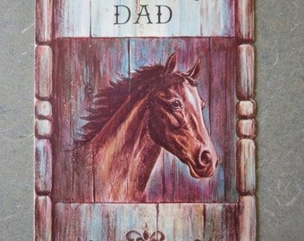 Vintage Card, Fathers Day Card, Greeting Card, Dad Card, Horse Card, Vintage Holiday, Card from Child, Equestrian Card, Pony, Masculine Card