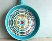 1960s vintage Ocean Blue Round serving dish with bamboo handle marked