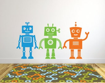 Robot wall decals, Sticker robot, Wall decals for kids robot, Playroom wall decals, Wall stickers for kids, Wall stickers for bedroom DB319