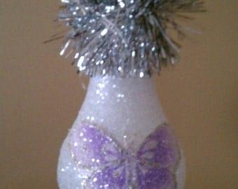 Lavender butterfly light bulb ornament