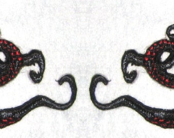 Small  Pair Octopus Iron on Patch Black and Red