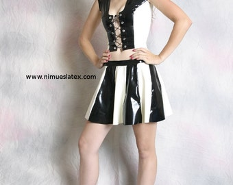 Striped Latex Cheerleader Skirt, made-to-order in a variety of colors and sizes