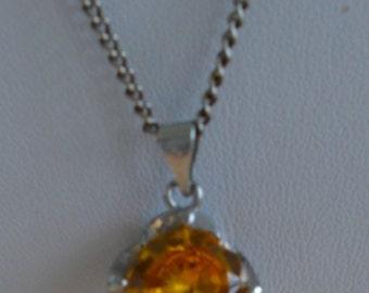 Pretty Vintage Yellow Topaz Pendant Necklace, Silver tone