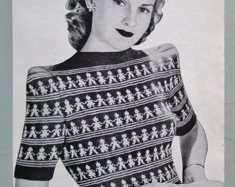 Vintage Knitting Pattern 1940s Women's Sweater Jumper Wedgwood Pottery Inspired Figural Design Fair Isle 40s original pattern Bestway 1835