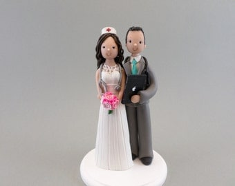 Personalized Doctor & Nurse Wedding Cake Topper