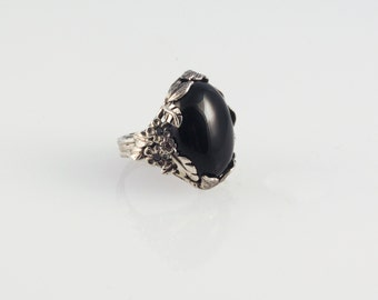 Shimmery Onyx Ring - in recycled silver