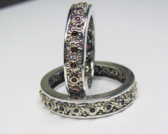 Filigree Wedding Band Set - in Recycled Silver and 14K Gold