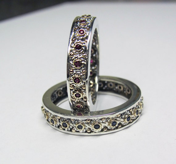 Filigree Wedding Band Set in Recycled Silver and 14K Gold
