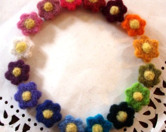 Felt Flowers - Needle Felted Flowers - Set 1 of 3 - Wool Appliques - Rainbow - Colorful - Assortment