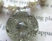 Pretty as a Button - Set of Necklace and Earrings, Made in Champagne and Silver