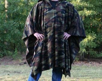 Camo Hooded Fleece Poncho with Vneck - Woodland Camouflage