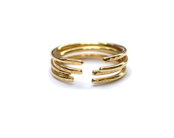 Bronze Cuff Ring, Open Band Midi Ring, Stackable Rings