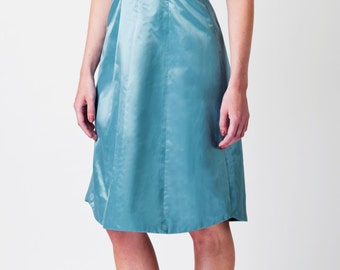 SAMPLE SALE - Silk Cut-Out Dress with Leopard print Detail in Celestial Blue