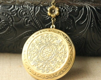 Large Locket Necklace Antiqued Brass locket long Chain Necklace secret message locket photo locket jewelry keepsake gift for her N191